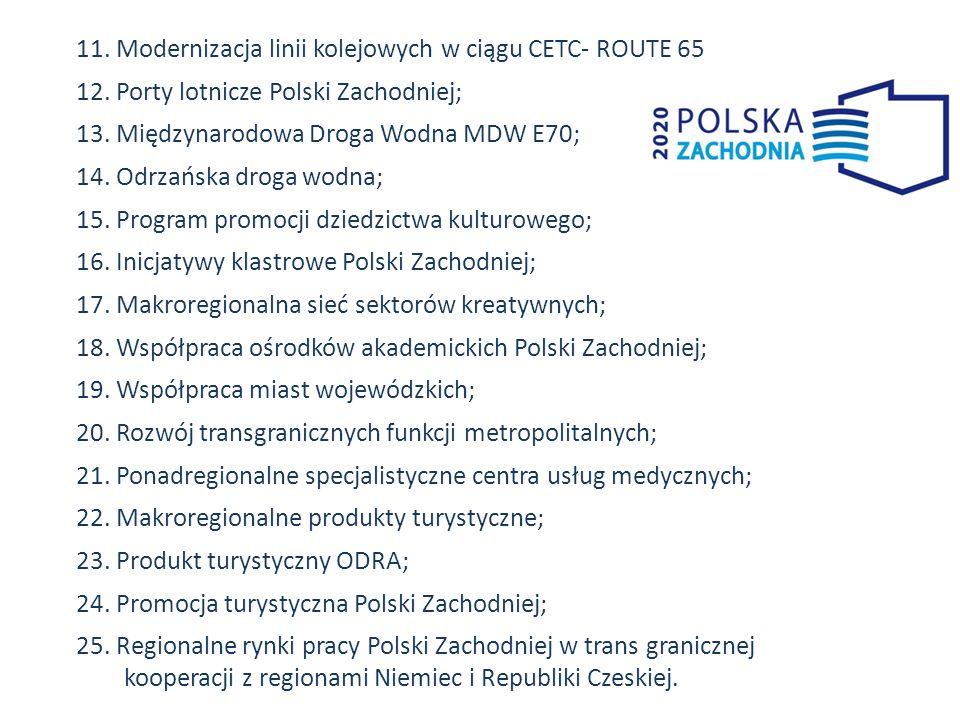 11. Modernizacja linii kolejowych w ciągu CETC- ROUTE 65 12. Porty lotnicze Polski Zachodniej; 13. Międzynarodowa Droga Wodna MDW E70; 14. Odrzańska d
