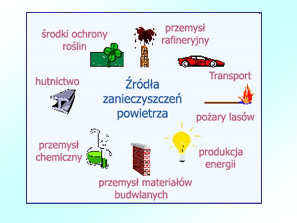 Substancje dostające się do atmosfery w wyniku działalności człowieka: -tlenki siarki - tlenki azotu - tlenki węgla - sadza - fenole - pyły cementowe - metale ciężkie (Pb, Cu, Zn, Al) - metan