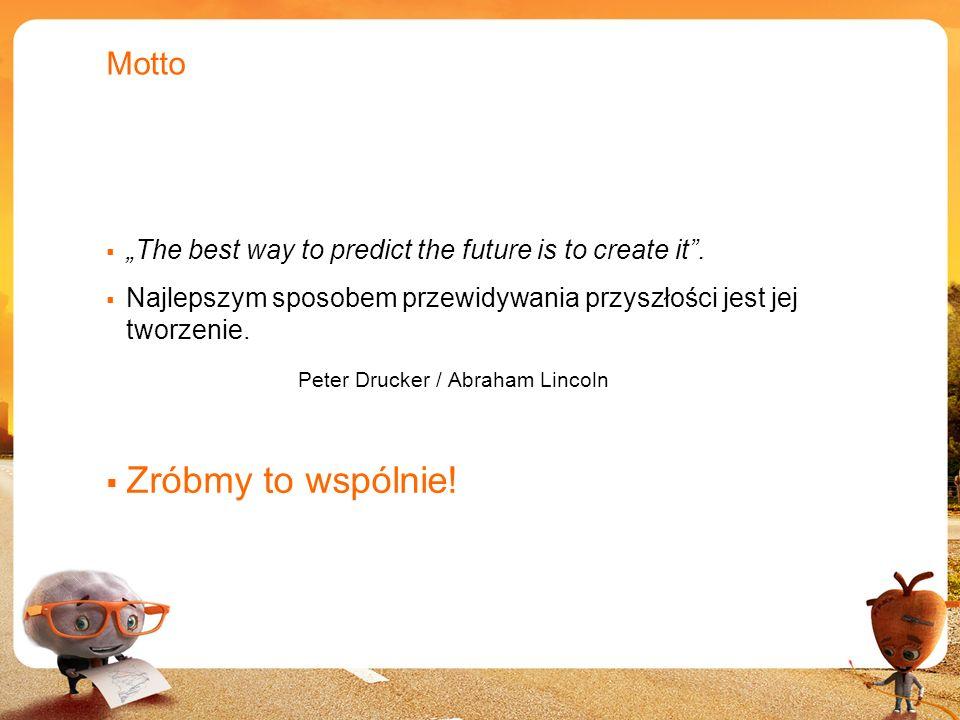 2 Motto The best way to predict the future is to create it. Najlepszym sposobem przewidywania przyszłości jest jej tworzenie. Peter Drucker / Abraham