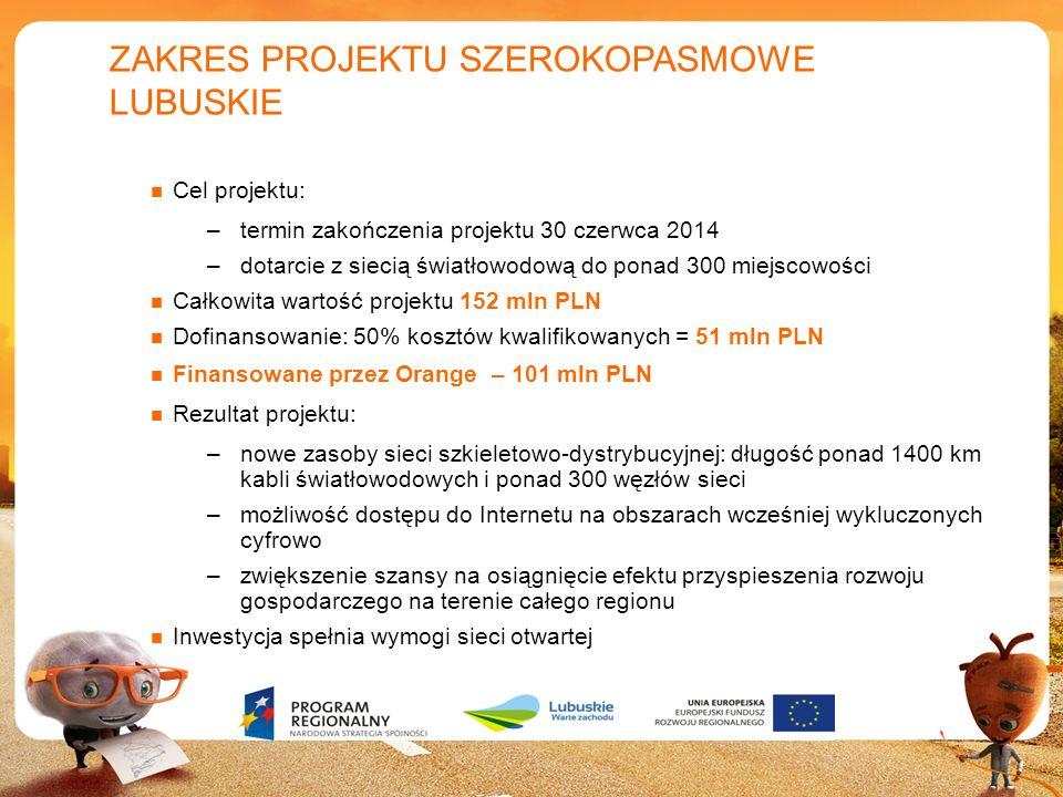 6 ZAKRES PROJEKTU SZEROKOPASMOWE LUBUSKIE Cel projektu: –termin zakończenia projektu 30 czerwca 2014 –dotarcie z siecią światłowodową do ponad 300 mie