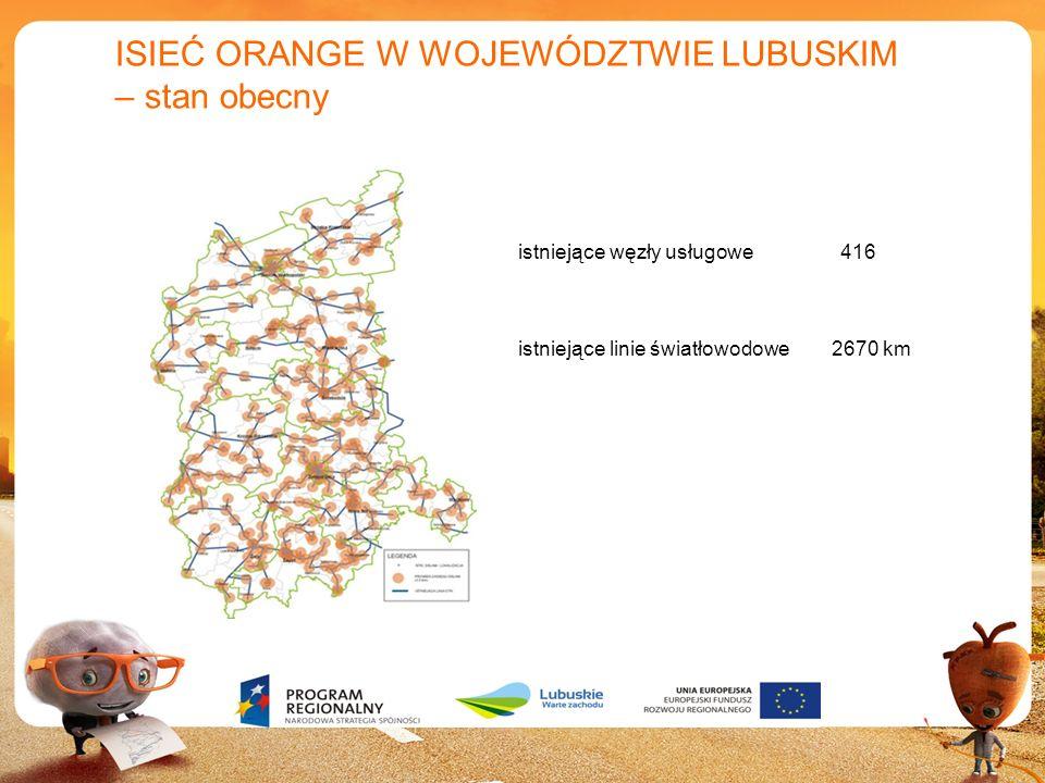 7 ISIEĆ ORANGE W WOJEWÓDZTWIE LUBUSKIM – stan obecny istniejące węzły usługowe 416 istniejące linie światłowodowe 2670 km