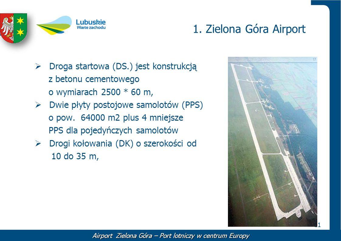 11 1. Zielona Góra Airport Droga startowa (DS.) jest konstrukcją z betonu cementowego o wymiarach 2500 * 60 m, Dwie płyty postojowe samolotów (PPS) o