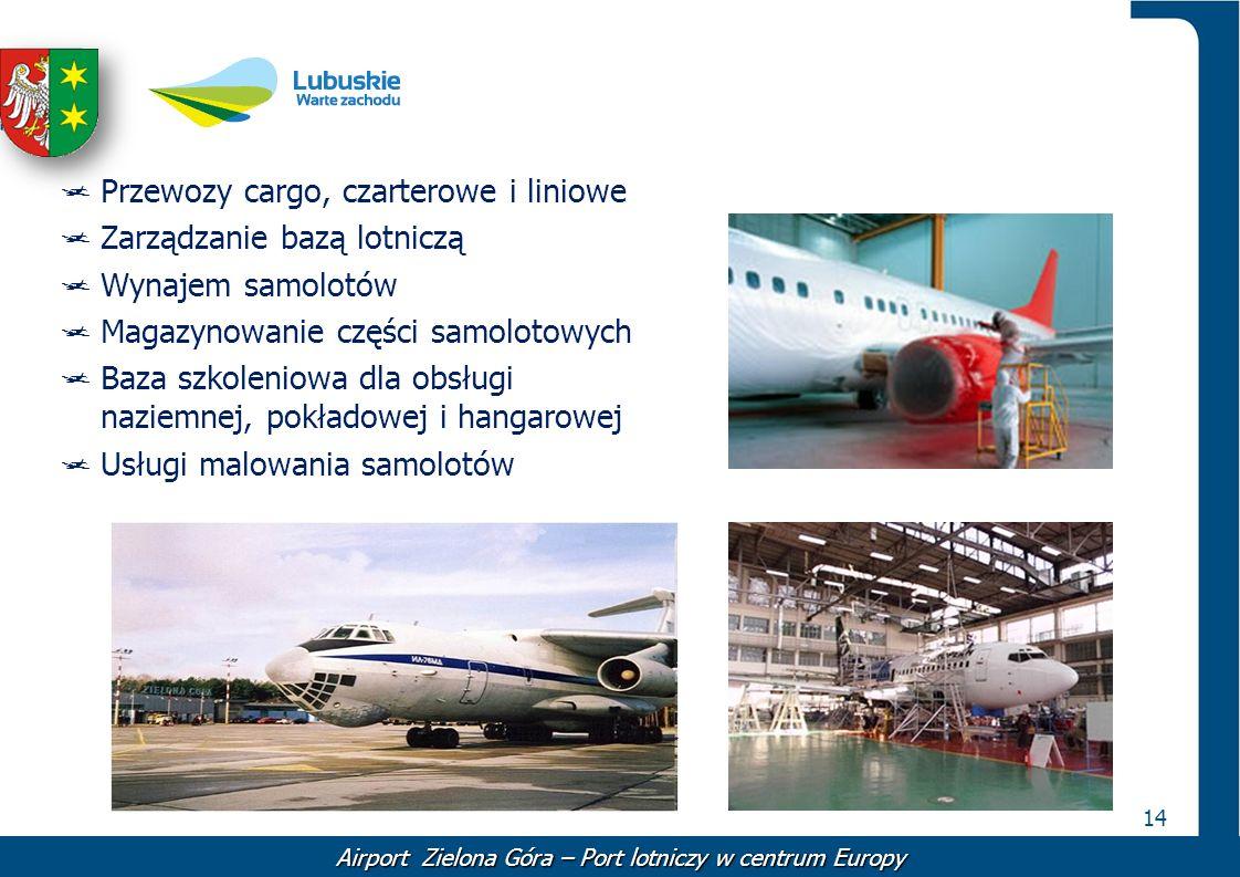 14 Airport Zielona Góra – Port lotniczy w centrum Europy Przewozy cargo, czarterowe i liniowe Zarządzanie bazą lotniczą Wynajem samolotów Magazynowani