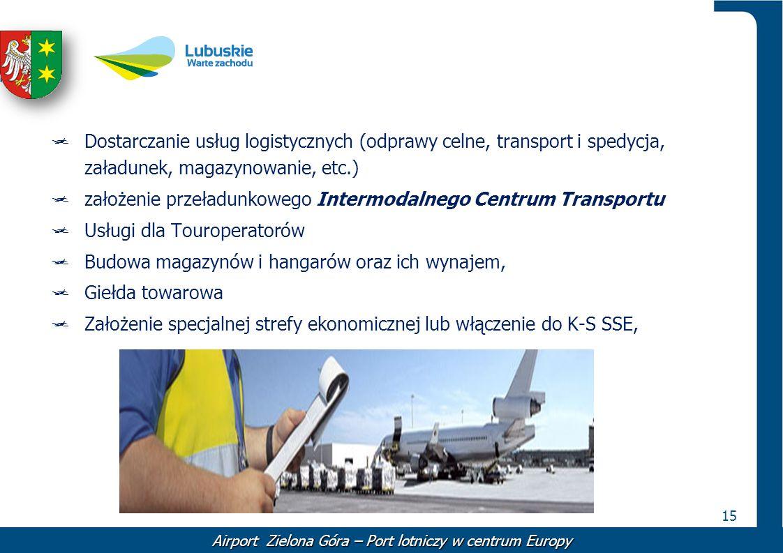 15 Dostarczanie usług logistycznych (odprawy celne, transport i spedycja, załadunek, magazynowanie, etc.) założenie przeładunkowego Intermodalnego Cen
