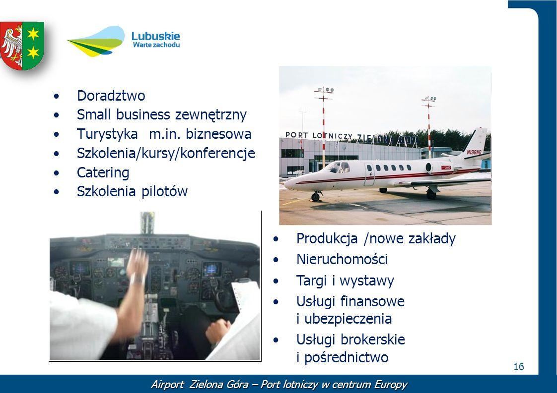 16 Doradztwo Small business zewnętrzny Turystyka m.in. biznesowa Szkolenia/kursy/konferencje Catering Szkolenia pilotów Produkcja /nowe zakłady Nieruc