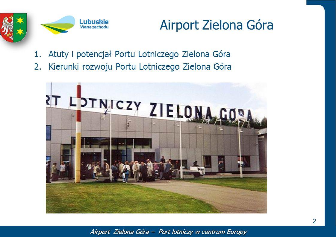 22 Airport Zielona Góra 1.Atuty i potencjał Portu Lotniczego Zielona Góra 2.Kierunki rozwoju Portu Lotniczego Zielona Góra Airport Zielona Góra – Port