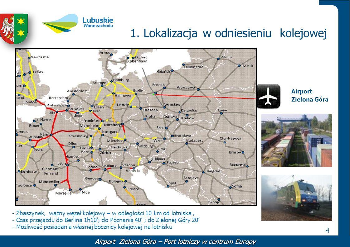 4 1. Lokalizacja w odniesieniu kolejowej - Zbaszynek, ważny węzeł kolejowy – w odległości 10 km od lotniska, - Czas przejazdu do Berlina 1h10; do Pozn