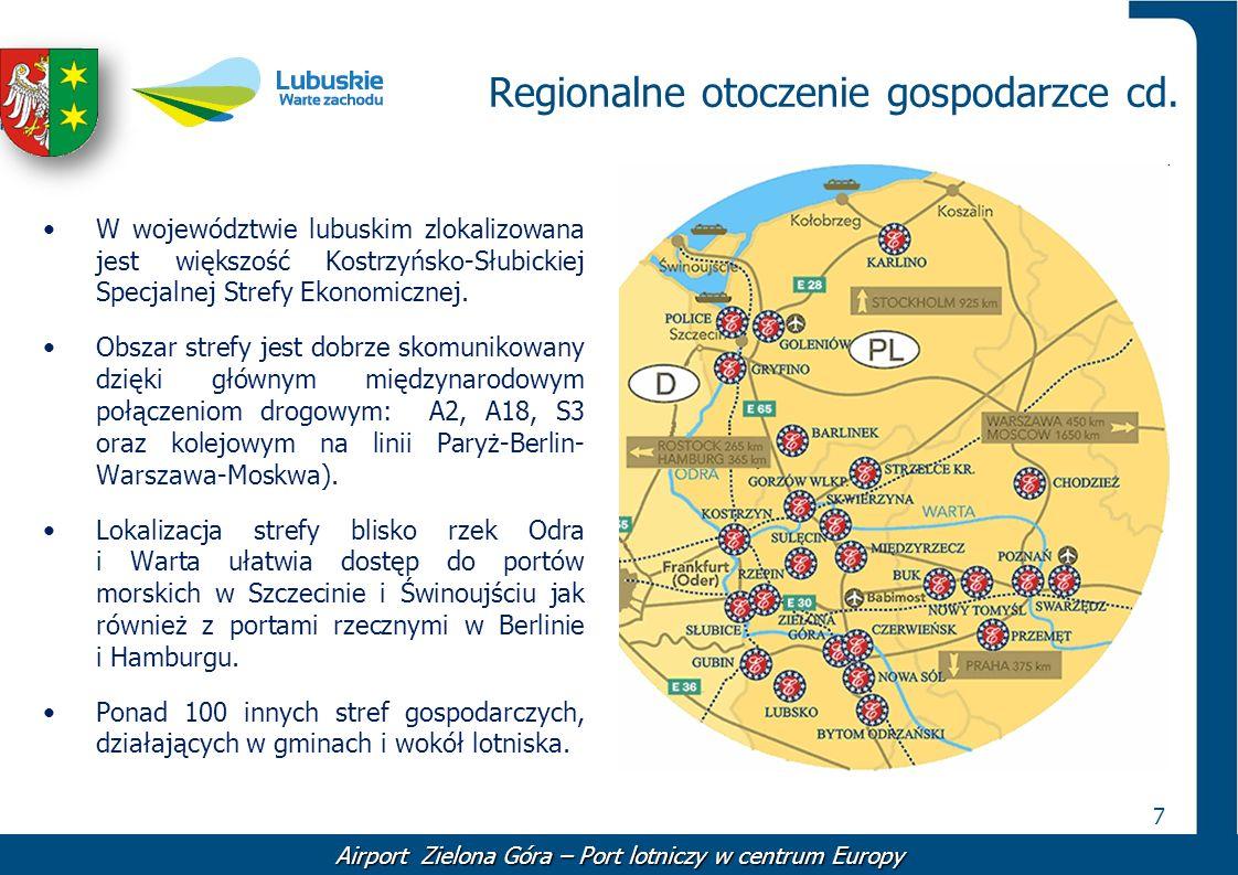 7 Regionalne otoczenie gospodarzce cd. W województwie lubuskim zlokalizowana jest większość Kostrzyńsko-Słubickiej Specjalnej Strefy Ekonomicznej. Obs