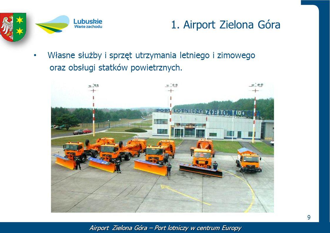 9 1. Airport Zielona Góra Własne służby i sprzęt utrzymania letniego i zimowego oraz obsługi statków powietrznych. Airport Zielona Góra – Port lotnicz