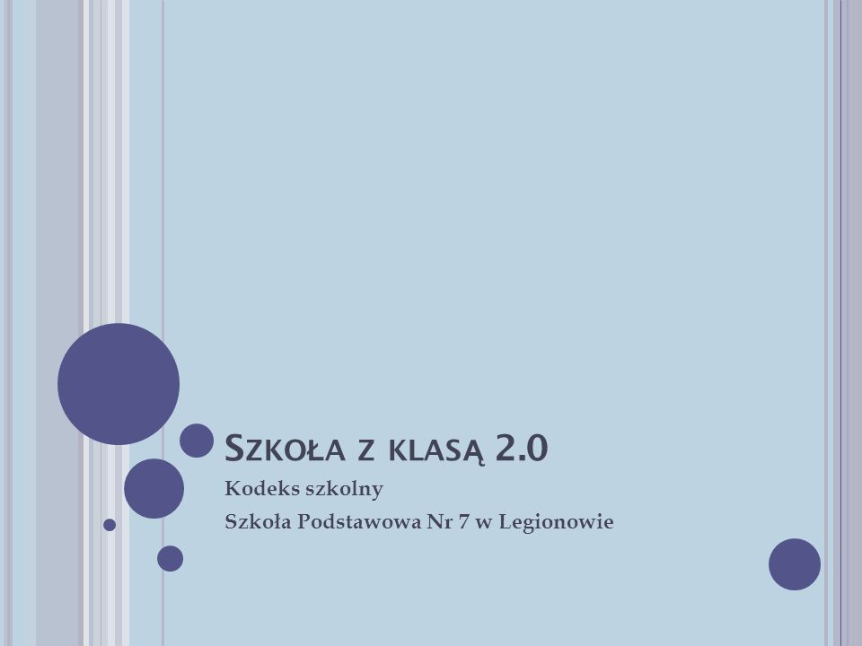 S ZKO Ł A Z KLAS Ą 2.0 Kodeks szkolny Szkoła Podstawowa Nr 7 w Legionowie