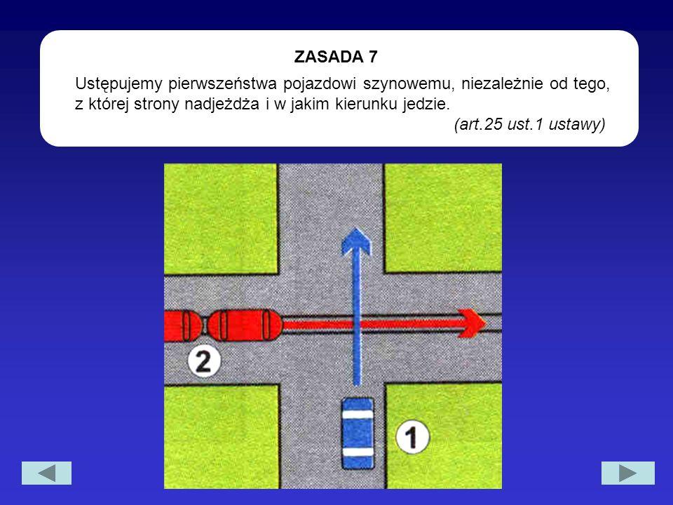 Ustępujemy pierwszeństwa pojazdowi szynowemu, niezależnie od tego, z której strony nadjeżdża i w jakim kierunku jedzie. (art.25 ust.1 ustawy) ZASADA 7