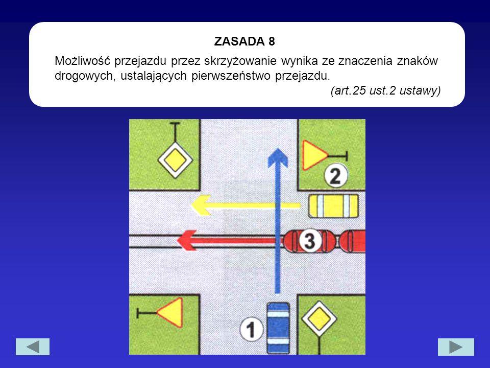 Możliwość przejazdu przez skrzyżowanie wynika ze znaczenia znaków drogowych, ustalających pierwszeństwo przejazdu. (art.25 ust.2 ustawy) ZASADA 8