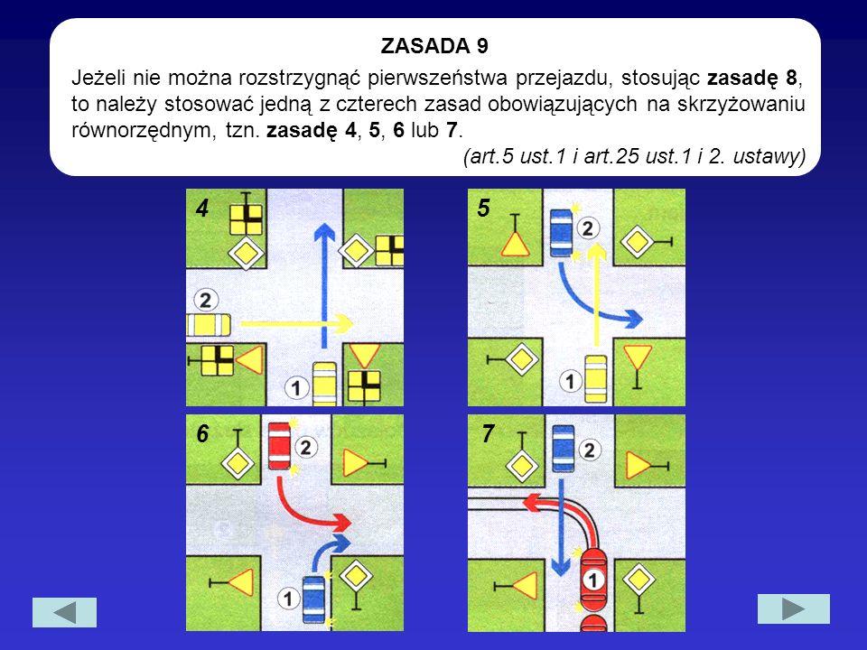Jeżeli nie można rozstrzygnąć pierwszeństwa przejazdu, stosując zasadę 8, to należy stosować jedną z czterech zasad obowiązujących na skrzyżowaniu rów