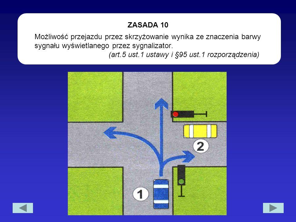 Możliwość przejazdu przez skrzyżowanie wynika ze znaczenia barwy sygnału wyświetlanego przez sygnalizator. (art.5 ust.1 ustawy i §95 ust.1 rozporządze