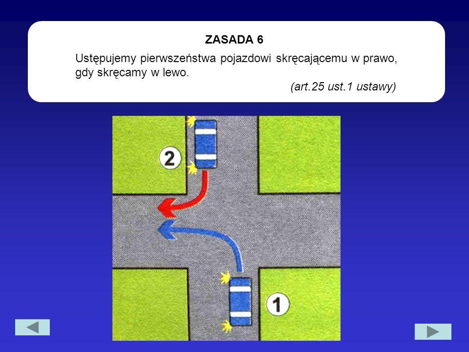 Ustępujemy pierwszeństwa pojazdowi skręcającemu w prawo, gdy skręcamy w lewo. (art.25 ust.1 ustawy) ZASADA 6
