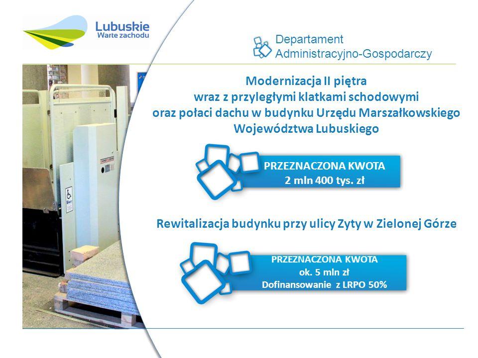 Departament Administracyjno-Gospodarczy Modernizacja II piętra wraz z przyległymi klatkami schodowymi oraz połaci dachu w budynku Urzędu Marszałkowskiego Województwa Lubuskiego PRZEZNACZONA KWOTA 2 mln 400 tys.