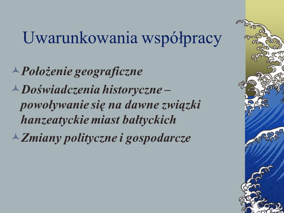 Uwarunkowania współpracy Położenie geograficzne Doświadczenia historyczne – powoływanie się na dawne związki hanzeatyckie miast bałtyckich Zmiany poli