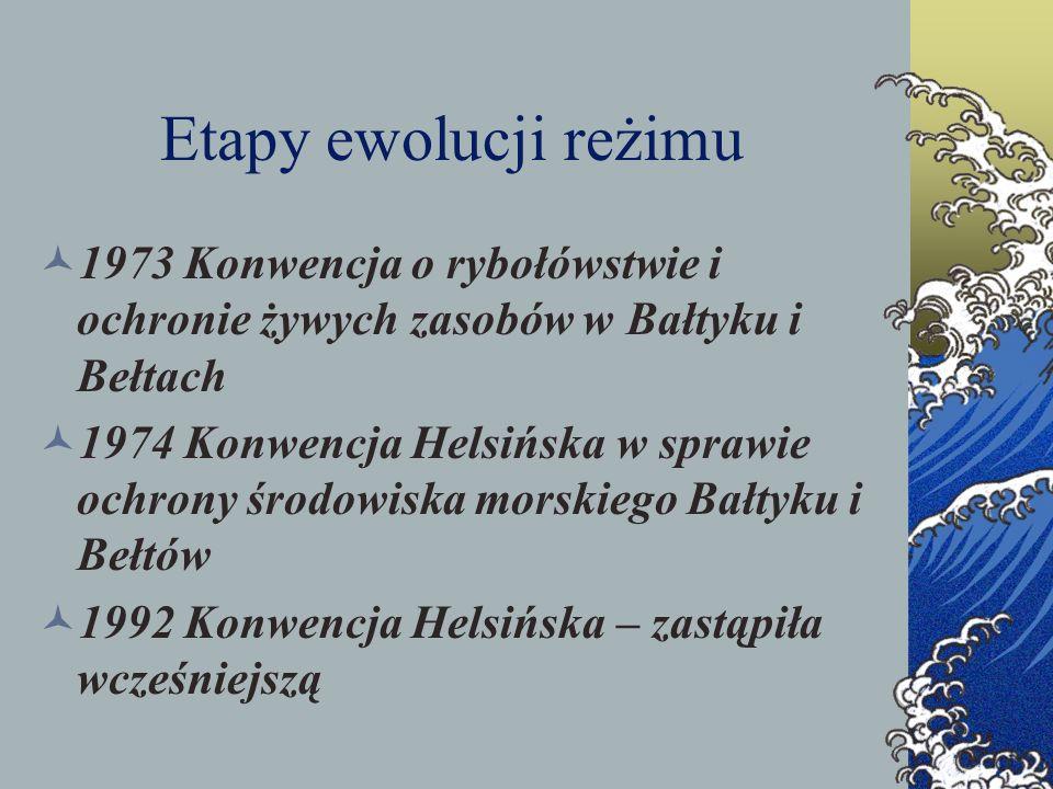 Etapy ewolucji reżimu 1973 Konwencja o rybołówstwie i ochronie żywych zasobów w Bałtyku i Bełtach 1974 Konwencja Helsińska w sprawie ochrony środowisk