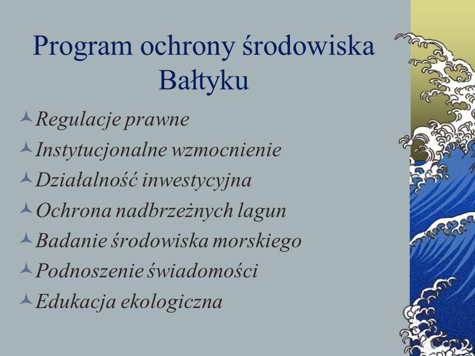 Program ochrony środowiska Bałtyku Regulacje prawne Instytucjonalne wzmocnienie Działalność inwestycyjna Ochrona nadbrzeżnych lagun Badanie środowiska
