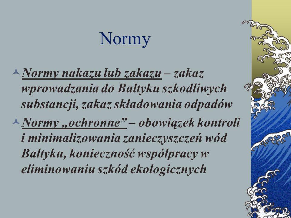 Normy Normy nakazu lub zakazu – zakaz wprowadzania do Bałtyku szkodliwych substancji, zakaz składowania odpadów Normy ochronne – obowiązek kontroli i