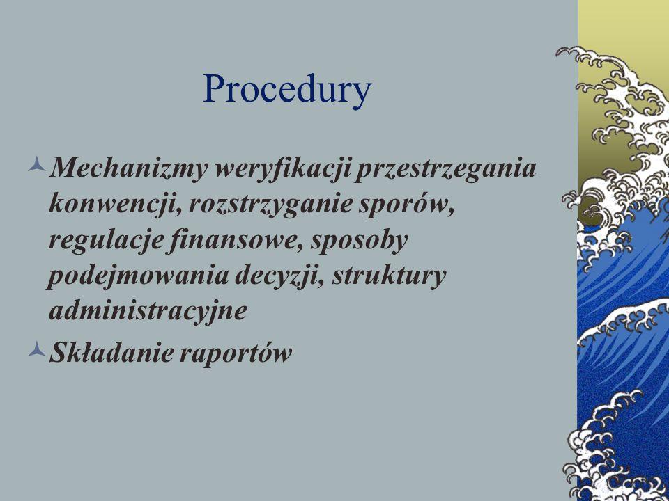 Procedury Mechanizmy weryfikacji przestrzegania konwencji, rozstrzyganie sporów, regulacje finansowe, sposoby podejmowania decyzji, struktury administ