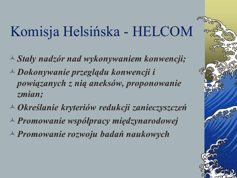 Komisja Helsińska - HELCOM Stały nadzór nad wykonywaniem konwencji; Dokonywanie przeglądu konwencji i powiązanych z nią aneksów, proponowanie zmian; O