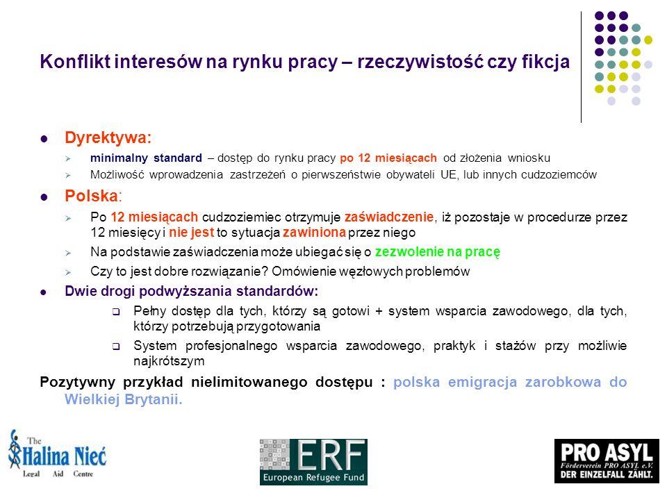 Konflikt interesów na rynku pracy – rzeczywistość czy fikcja Dyrektywa: minimalny standard – dostęp do rynku pracy po 12 miesiącach od złożenia wniosku Możliwość wprowadzenia zastrzeżeń o pierwszeństwie obywateli UE, lub innych cudzoziemców Polska: Po 12 miesiącach cudzoziemiec otrzymuje zaświadczenie, iż pozostaje w procedurze przez 12 miesięcy i nie jest to sytuacja zawiniona przez niego Na podstawie zaświadczenia może ubiegać się o zezwolenie na pracę Czy to jest dobre rozwiązanie.