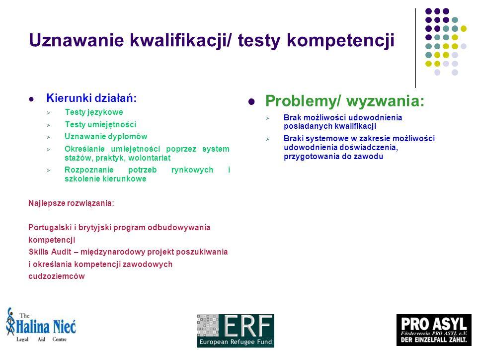 Uznawanie kwalifikacji/ testy kompetencji Kierunki działań: Testy językowe Testy umiejętności Uznawanie dyplomów Określanie umiejętności poprzez system stażów, praktyk, wolontariat Rozpoznanie potrzeb rynkowych i szkolenie kierunkowe Najlepsze rozwiązania: Portugalski i brytyjski program odbudowywania kompetencji Skills Audit – międzynarodowy projekt poszukiwania i określania kompetencji zawodowych cudzoziemców Problemy/ wyzwania: Brak możliwości udowodnienia posiadanych kwalifikacji Braki systemowe w zakresie możliwości udowodnienia doświadczenia, przygotowania do zawodu