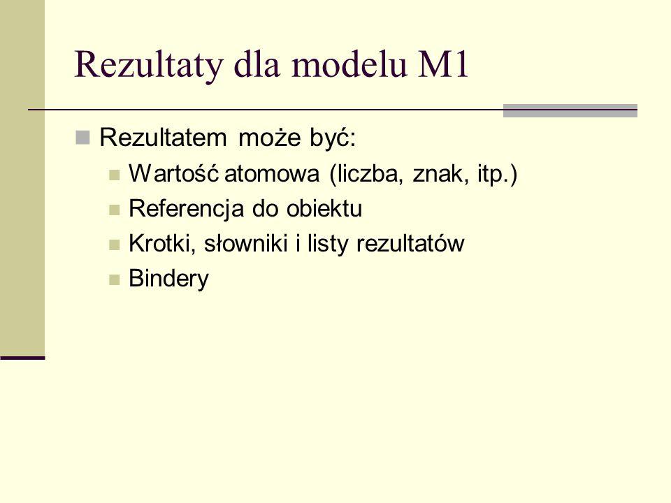 Rezultaty dla modelu M1 Rezultatem może być: Wartość atomowa (liczba, znak, itp.) Referencja do obiektu Krotki, słowniki i listy rezultatów Bindery