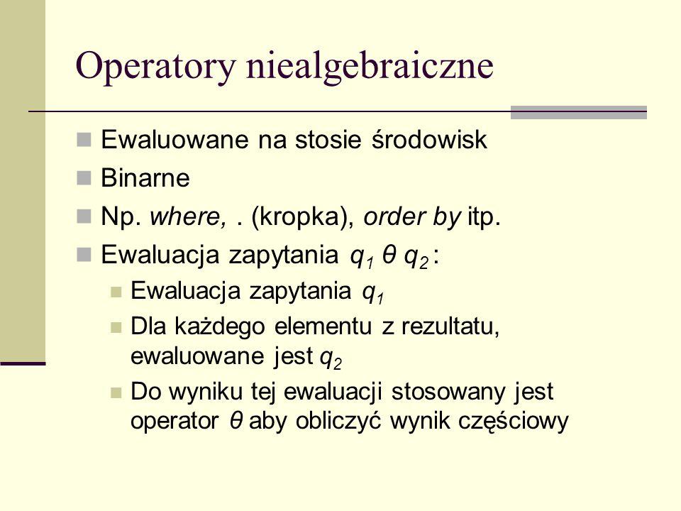 Operatory niealgebraiczne Ewaluowane na stosie środowisk Binarne Np.