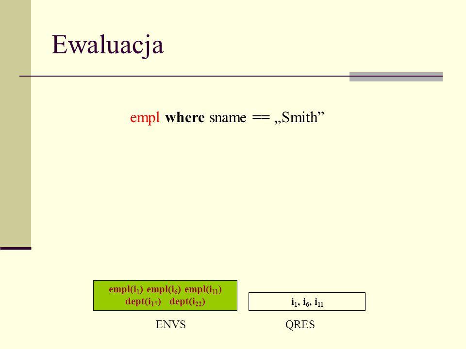 Ewaluacja empl(i 1 ) empl(i 6 ) empl(i 11 ) dept(i 17 ) dept(i 22 ) ENVSQRES i 1, i 6, i 11 empl where sname == Smith