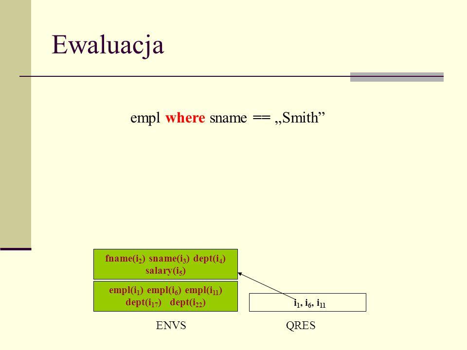 Ewaluacja empl(i 1 ) empl(i 6 ) empl(i 11 ) dept(i 17 ) dept(i 22 ) ENVSQRES i 1, i 6, i 11 fname(i 2 ) sname(i 3 ) dept(i 4 ) salary(i 5 ) empl where sname == Smith