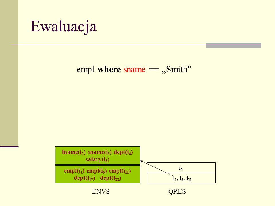 Ewaluacja ENVSQRES i 1, i 6, i 11 empl where sname == Smith i3i3 empl(i 1 ) empl(i 6 ) empl(i 11 ) dept(i 17 ) dept(i 22 ) fname(i 2 ) sname(i 3 ) dept(i 4 ) salary(i 5 )