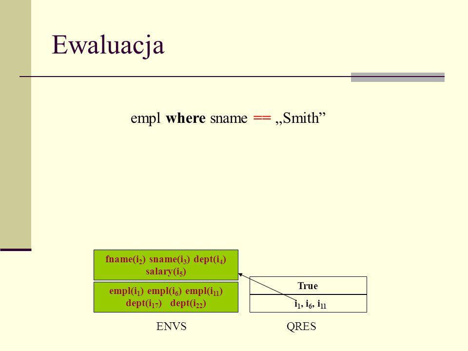 Ewaluacja ENVSQRES i 1, i 6, i 11 empl where sname == Smith True empl(i 1 ) empl(i 6 ) empl(i 11 ) dept(i 17 ) dept(i 22 ) fname(i 2 ) sname(i 3 ) dept(i 4 ) salary(i 5 )