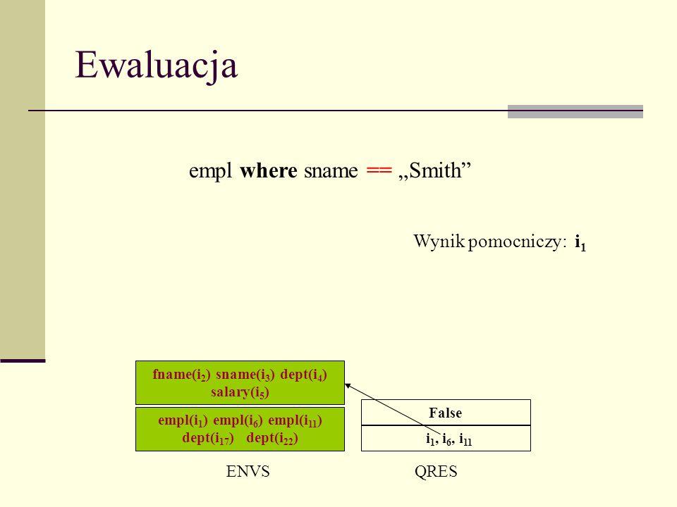 Ewaluacja ENVSQRES i 1, i 6, i 11 empl where sname == Smith False Wynik pomocniczy: i 1 empl(i 1 ) empl(i 6 ) empl(i 11 ) dept(i 17 ) dept(i 22 ) fname(i 2 ) sname(i 3 ) dept(i 4 ) salary(i 5 )