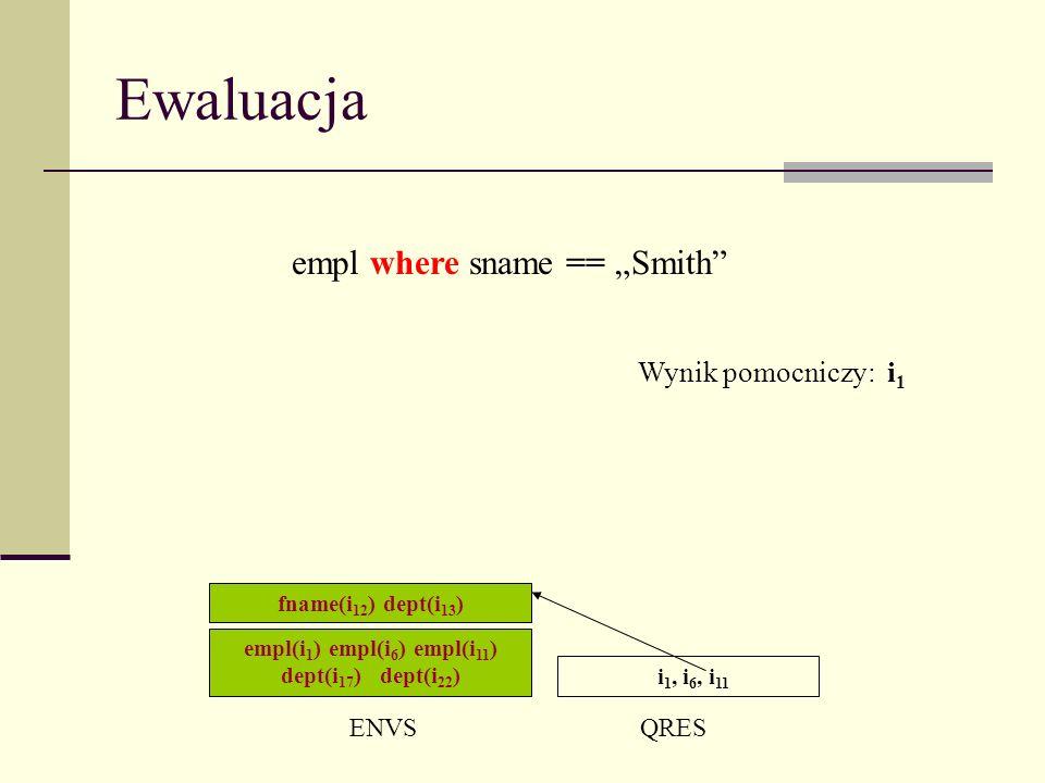 Ewaluacja empl(i 1 ) empl(i 6 ) empl(i 11 ) dept(i 17 ) dept(i 22 ) ENVSQRES i 1, i 6, i 11 fname(i 12 ) dept(i 13 ) empl where sname == Smith Wynik pomocniczy: i 1