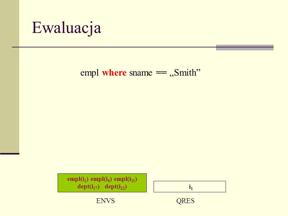 Ewaluacja empl(i 1 ) empl(i 6 ) empl(i 11 ) dept(i 17 ) dept(i 22 ) ENVSQRES i 1 empl where sname == Smith