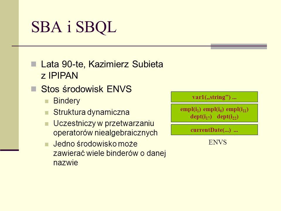 SBA i SBQL Lata 90-te, Kazimierz Subieta z IPIPAN Stos środowisk ENVS Bindery Struktura dynamiczna Uczestniczy w przetwarzaniu operatorów niealgebraicznych Jedno środowisko może zawierać wiele binderów o danej nazwie empl(i 1 ) empl(i 6 ) empl(i 11 ) dept(i 17 ) dept(i 22 ) ENVS var1(string)...