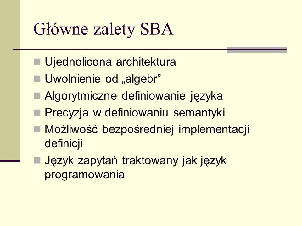 Główne zalety SBA Ujednolicona architektura Uwolnienie od algebr Algorytmiczne definiowanie języka Precyzja w definiowaniu semantyki Możliwość bezpośredniej implementacji definicji Język zapytań traktowany jak język programowania