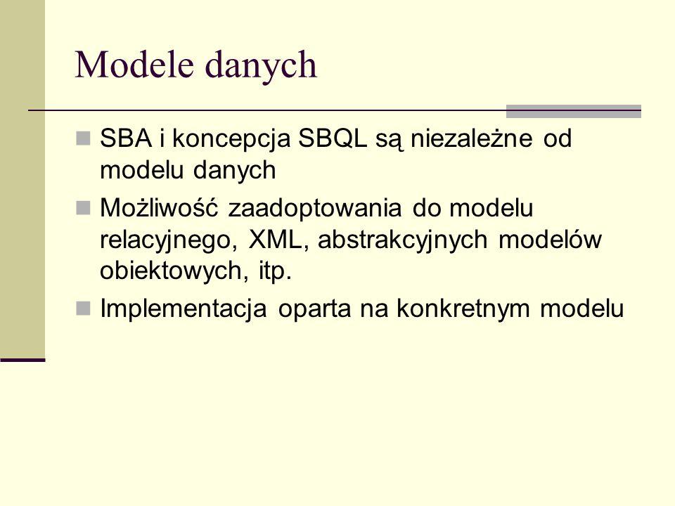 Modele danych SBA i koncepcja SBQL są niezależne od modelu danych Możliwość zaadoptowania do modelu relacyjnego, XML, abstrakcyjnych modelów obiektowych, itp.