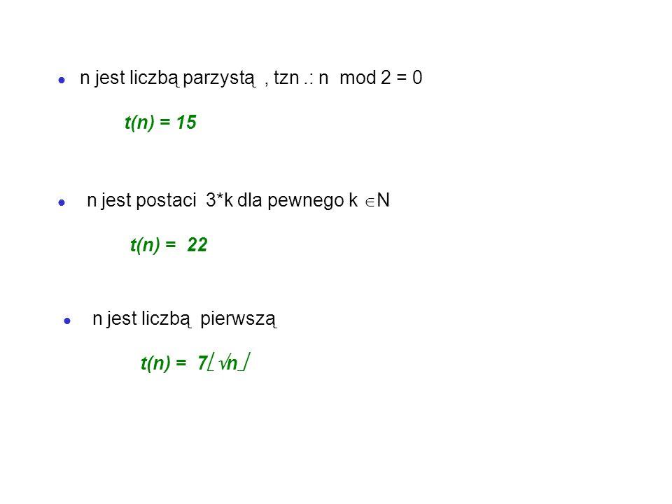 Dowolną funkcje r : D W nazywamy rozmiarem danych.