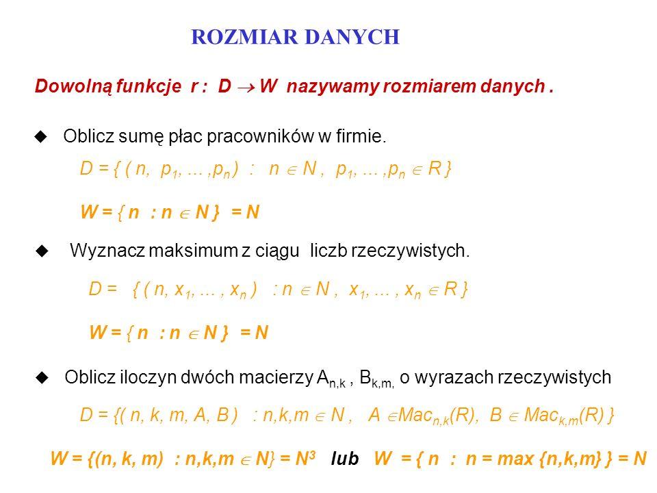 PESYMISTYCZNA ZŁOŻONOŚĆ CZASOWA u J - zbiór operacji jednostkowych Pascala (niekoniecznie wszystkich) u P - program w Pascalu u D - zbiór danych programu P u W - zbiór rozmiarów danych programu P u t - pełna funkcja złożoności czasowej programu P Funkcję T: W - - N zdefiniowaną następująco : T(w) = sup { t(d) : d D ^ r(d) = w } nazywamy pesymistyczną złożonością czasową programu