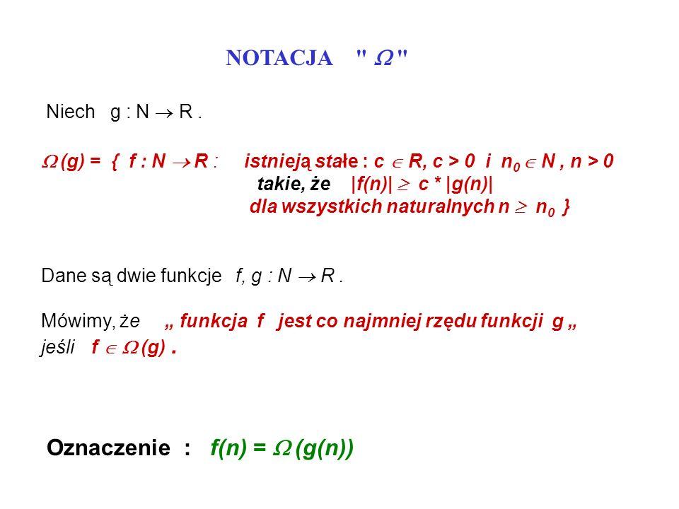 NOTACJA Dane są dwie funkcje f, g : N R.