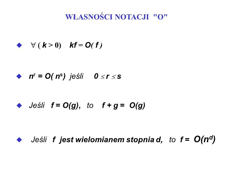 u Jeśli f = O(g) i g = O(h), to f =O(h) u Jeśli f = O(g) i h =O(r), to fh = O( gr ) ( b > 1 and k 0) n k = O( b n ) Przykład : n 20 = O( 1.05 n ) b > 1 and k > 0) log b n = O( n k ) Przykład: log 2 n = O( n 0.5 )