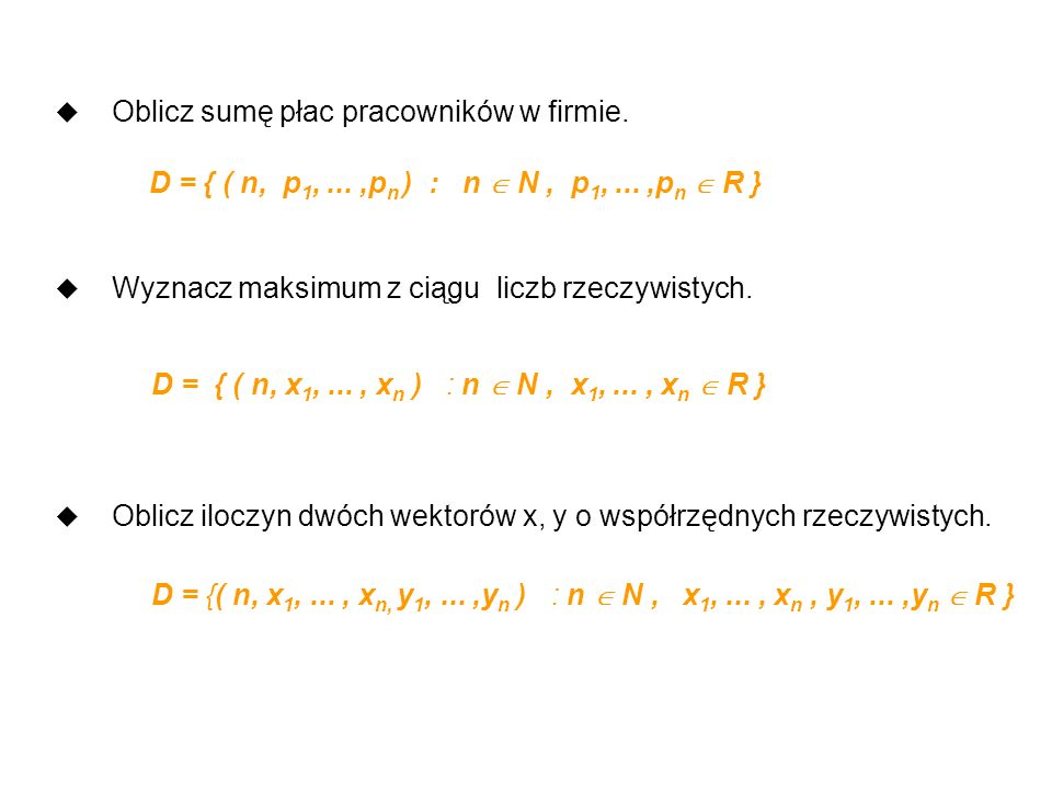 Zbiór operacji jednostkowych Pascala (J) : u operatory arytmetyczne : + - * / div mod u operatory logiczne : and or not u operatory relacyjne : >= = <> u nadanie wartości zmiennej typu prostego u obliczenie wartości zmiennej indeksowanej u inicjalizacja wywołania procedury lub funkcji u przekazanie wartości parametru aktualnego u wykonanie instrukcji pustej, wejścia lub wyjścia
