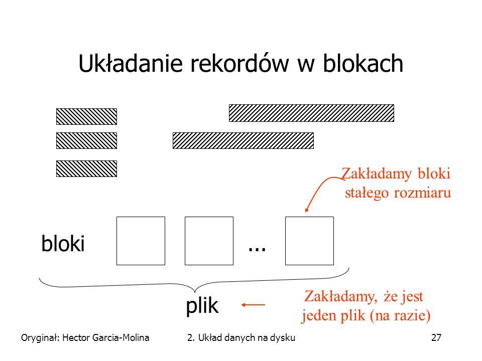 Oryginał: Hector Garcia-Molina2. Układ danych na dysku27 Układanie rekordów w blokach bloki...
