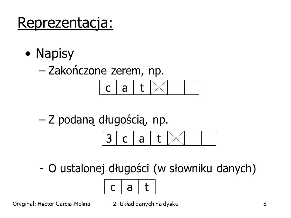 Oryginał: Hector Garcia-Molina2. Układ danych na dysku8 Napisy –Zakończone zerem, np.
