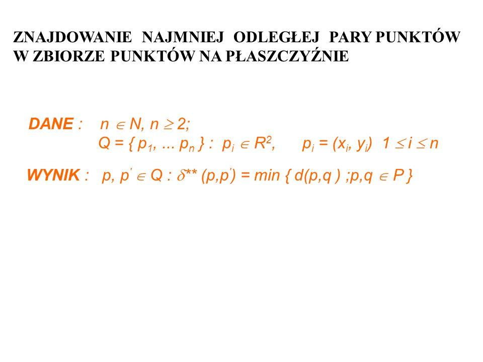 ZNAJDOWANIE NAJMNIEJ ODLEGŁEJ PARY PUNKTÓW W ZBIORZE PUNKTÓW NA PŁASZCZYŹNIE DANE : n N, n 2; Q = { p 1,... p n } : p i R 2, p i = (x i, y i ) 1 i n W