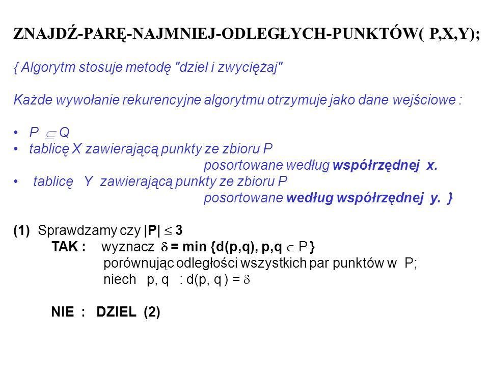 ZNAJDŹ-PARĘ-NAJMNIEJ-ODLEGŁYCH-PUNKTÓW( P,X,Y); { Algorytm stosuje metodę
