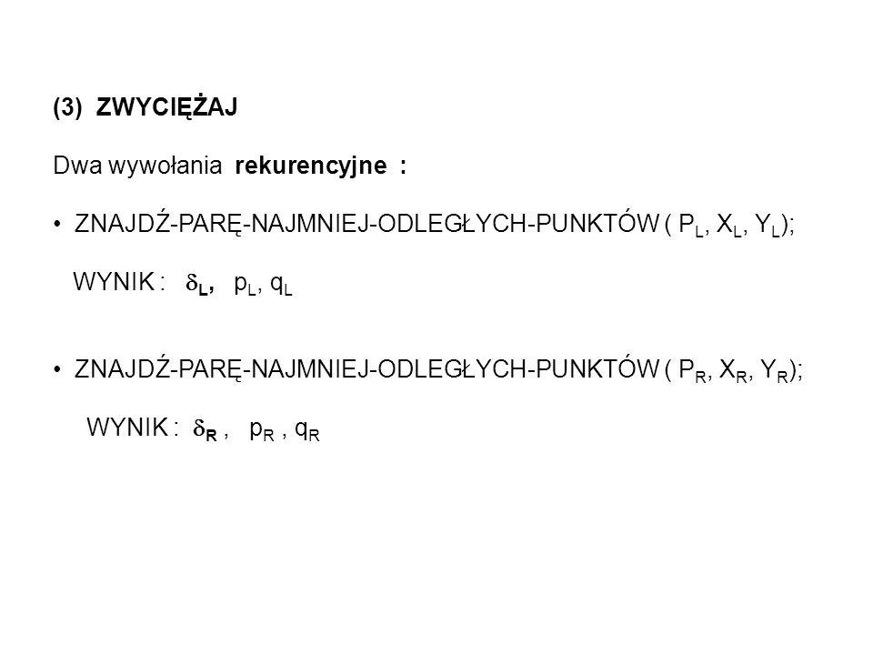 (3) ZWYCIĘŻAJ Dwa wywołania rekurencyjne : ZNAJDŹ-PARĘ-NAJMNIEJ-ODLEGŁYCH-PUNKTÓW ( P L, X L, Y L ); WYNIK : L, p L, q L ZNAJDŹ-PARĘ-NAJMNIEJ-ODLEGŁYC